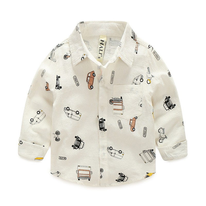 Áo sơ mi bé trai XIAILE áo sơ mi dài tay cho bé họa tiết ô tô chất cotton hàng xuất Âu Mỹ