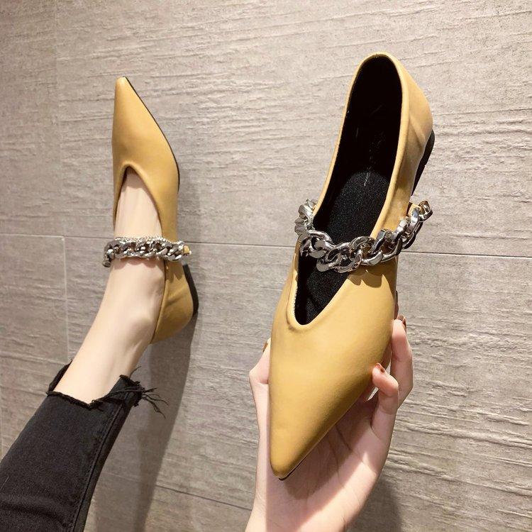 Giày Búp Bê Mũi Nhọn Phối Dây Xích Kim Loại Thời Trang Cho Nữ