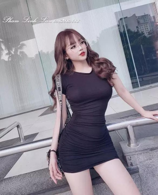 Đầm body nhún sườn