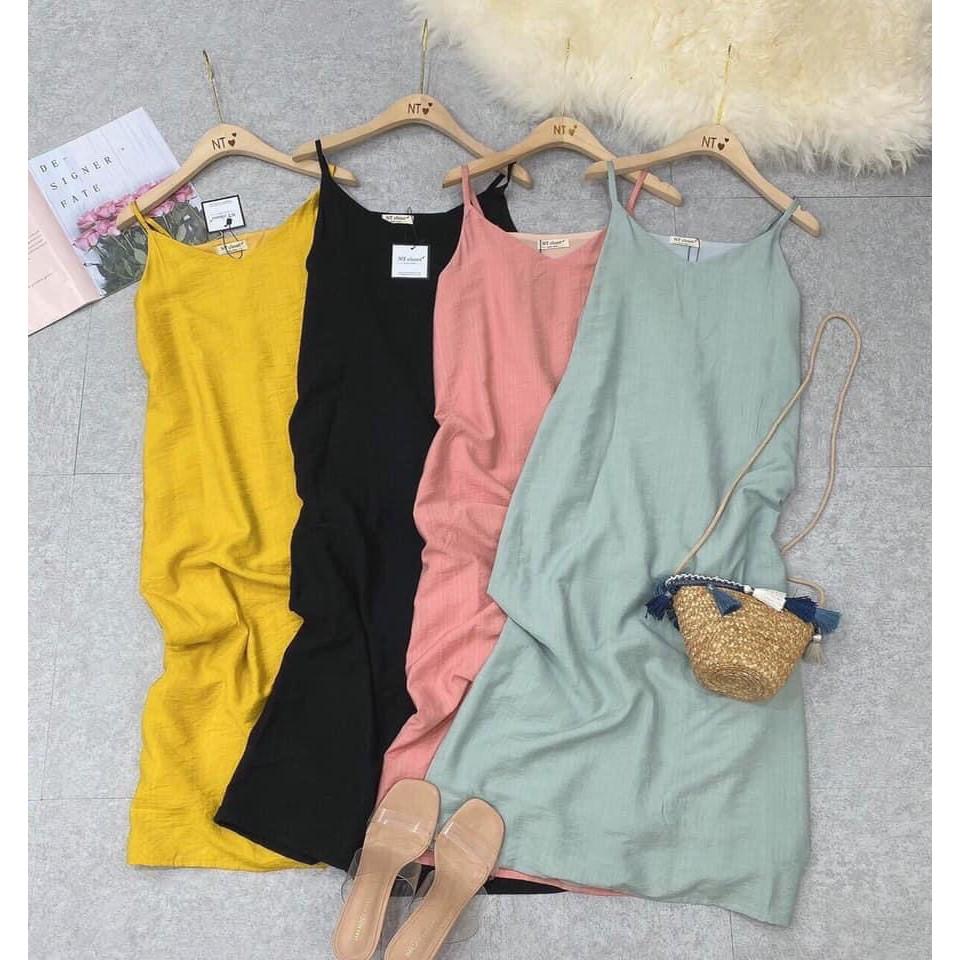 Váy 2 dây - đầm suông nữ vải đũi lụa mềm mịn mát 4 màu thích hợp mặc đi biển