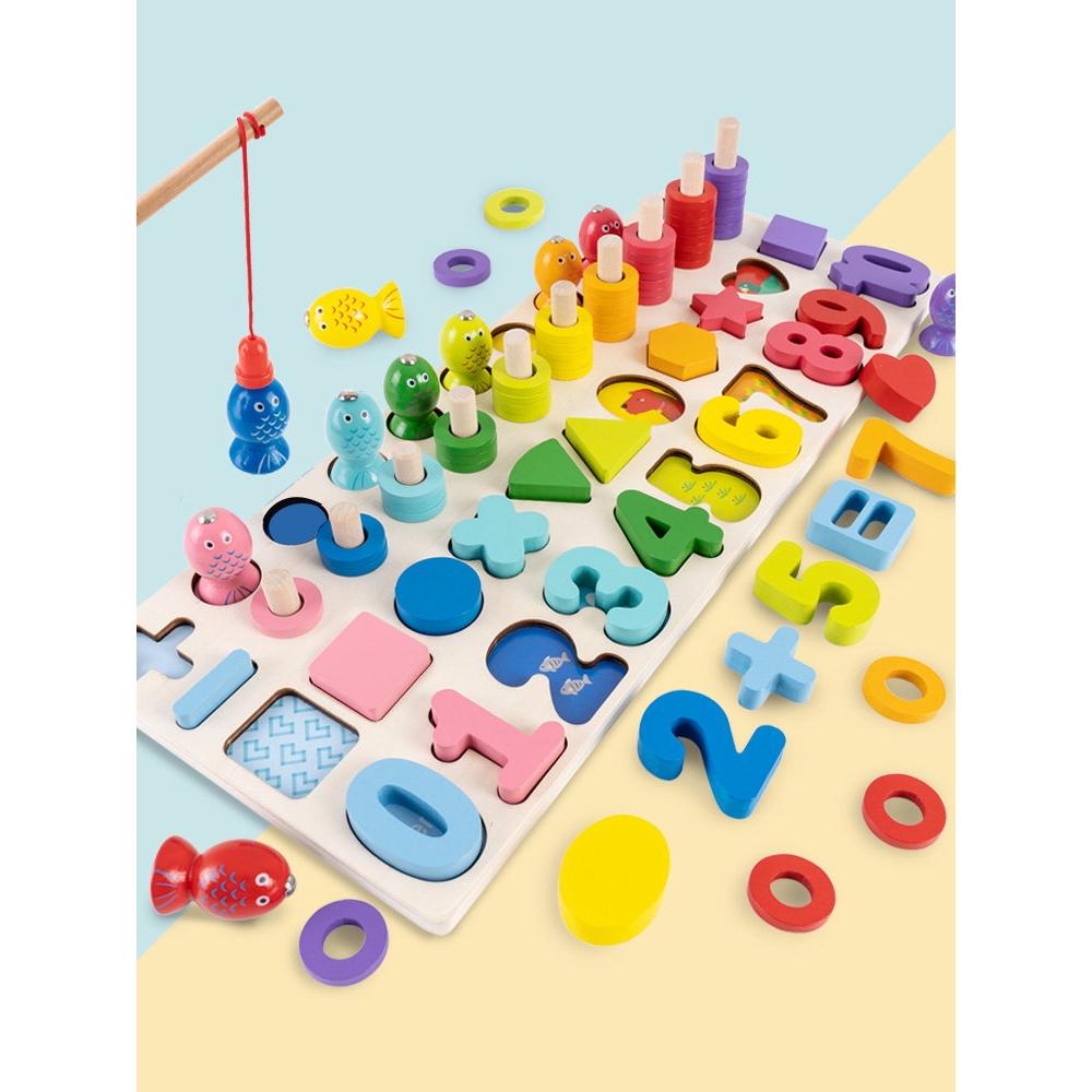 Mua Bộ đồ chơi trí tuệ cho bé học ghép chữ số tập đếm hình khối màu sắc  bằng gỗ Đồ chơi phát triển kĩ năng cơ bản chỉ 195.000₫