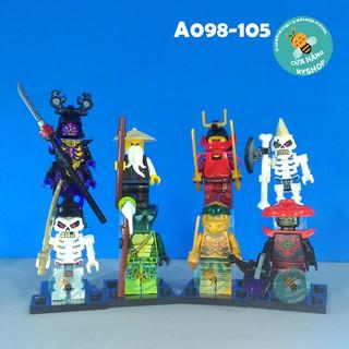 A098-105 – Set 8 Nhân vật NinjaGo – Overlord, Golden Ninja và các Skulkin