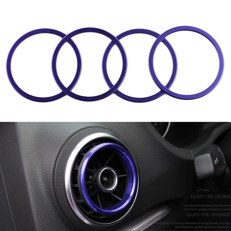 4pcs/set Car Key Switch Decoration Ring Interior Styling Suitable For Audi A3