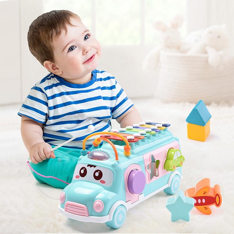 [Mã TOYFSS giảm 10% tối đa 15K] xe buýt đồ chơi có dung cụ nhạc và thả khối mô hình hình học trí tuệ cho trẻ 2 in 1