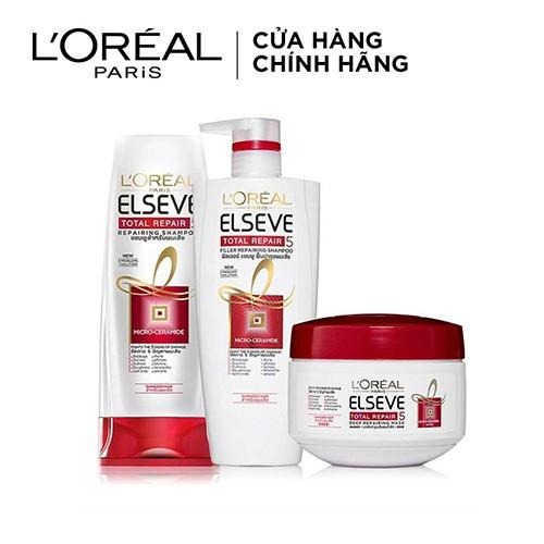 Bộ sản phẩm phục hồi tóc hư tổn toàn diện L'Oréal Paris Total Repair 5 (Gội 650ml, Xả 325ml, Ủ 200ml) _ TULP0009CB