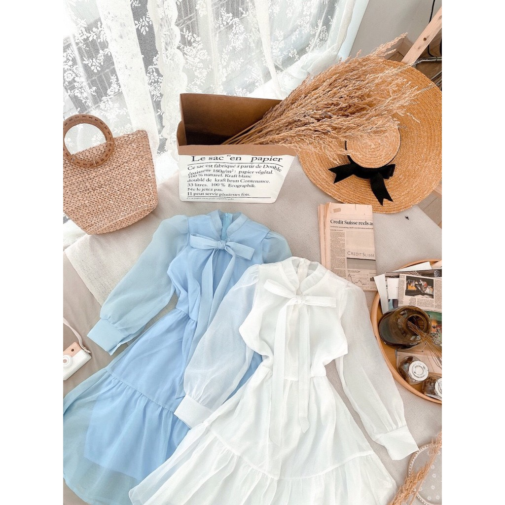 Mặc gì đẹp: Sang trọng với Đầm công sở trắng xanh nơ ngực tơ tầng xinh xắn - Moly dress