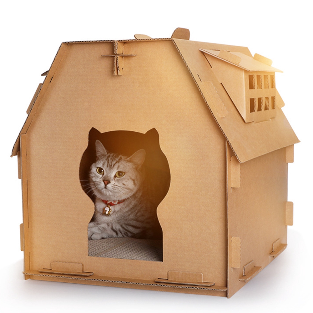 Corrugated Paper DIY Have Small Window Indoor Kitten Tools Self Assembly Toys Cat House