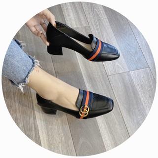 Giày cao gót da mềm kẻ đỏ đen kem - 4P