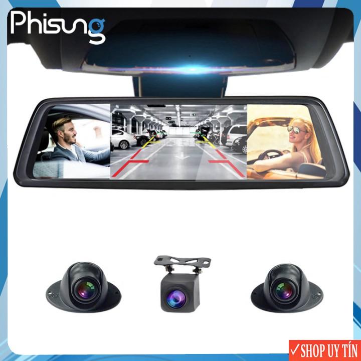 Camera hành trình xe hơi, ô tô Phisung V9 Plus tích hợp 4 camera, Android Wifi GPS - Hàng Chính hãng bảo hành 12 tháng
