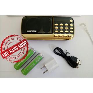 [Tặng Sạc]Loa Craven Nghe Nhạc Thẻ Nhớ, USB, FM Chính Hãng Có Đèn PIN, Cắm Tai Nghe