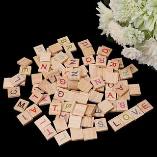 100X Wooden Scrabble Tiles Colorful Letters Numbers For Crafts Wood Alphabet Toy 85 nhập khẩu