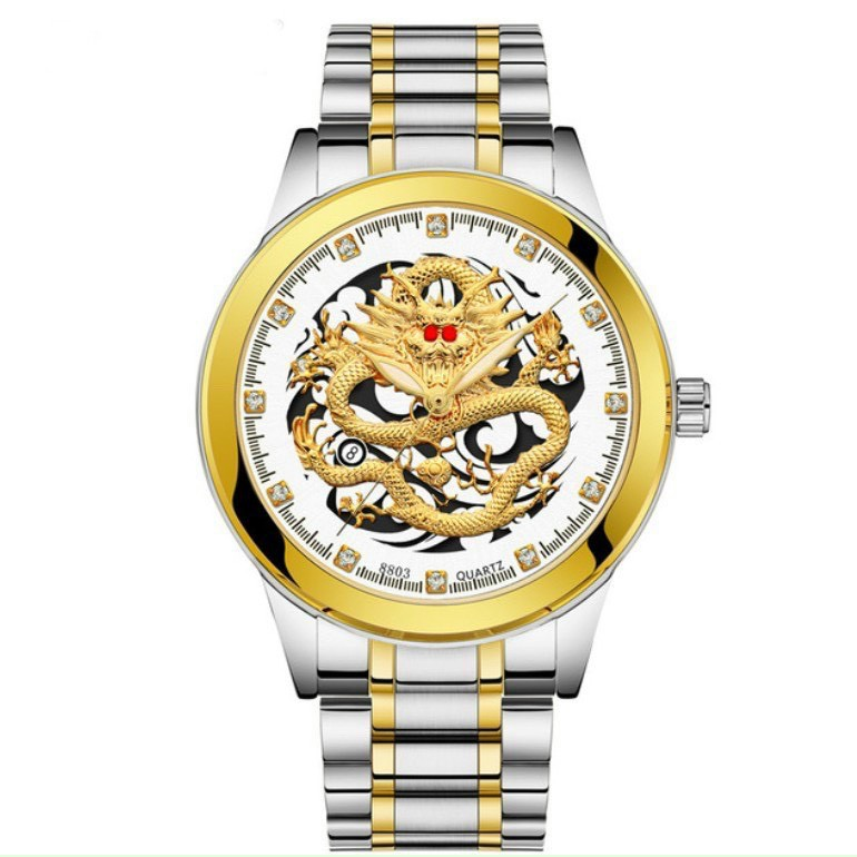 (Giá sỉ) Đồng hồ thời trang Nam Rồng vàng có lịch - kim dạ quang sang trọng ACC83