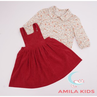 Váy bé gái - Váy yếm nhung tăm bé gái kèm áo hoa nhí cho bé