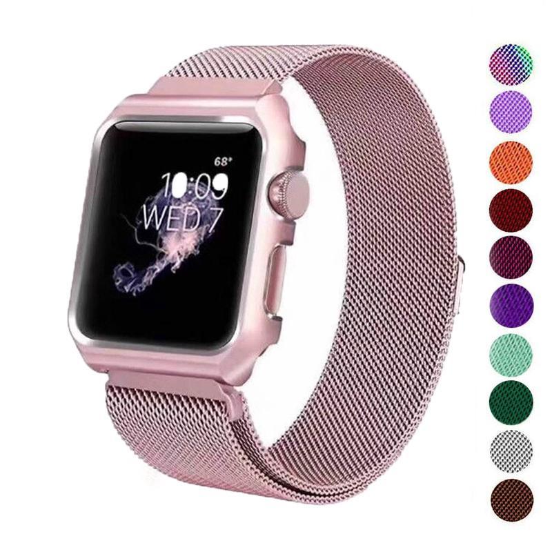 Dây đeo bằng inox Milanese cao cấp cho đồng hồ thông minh Apple Watch SE Series 6 5 4 / 3 / 2 / 1