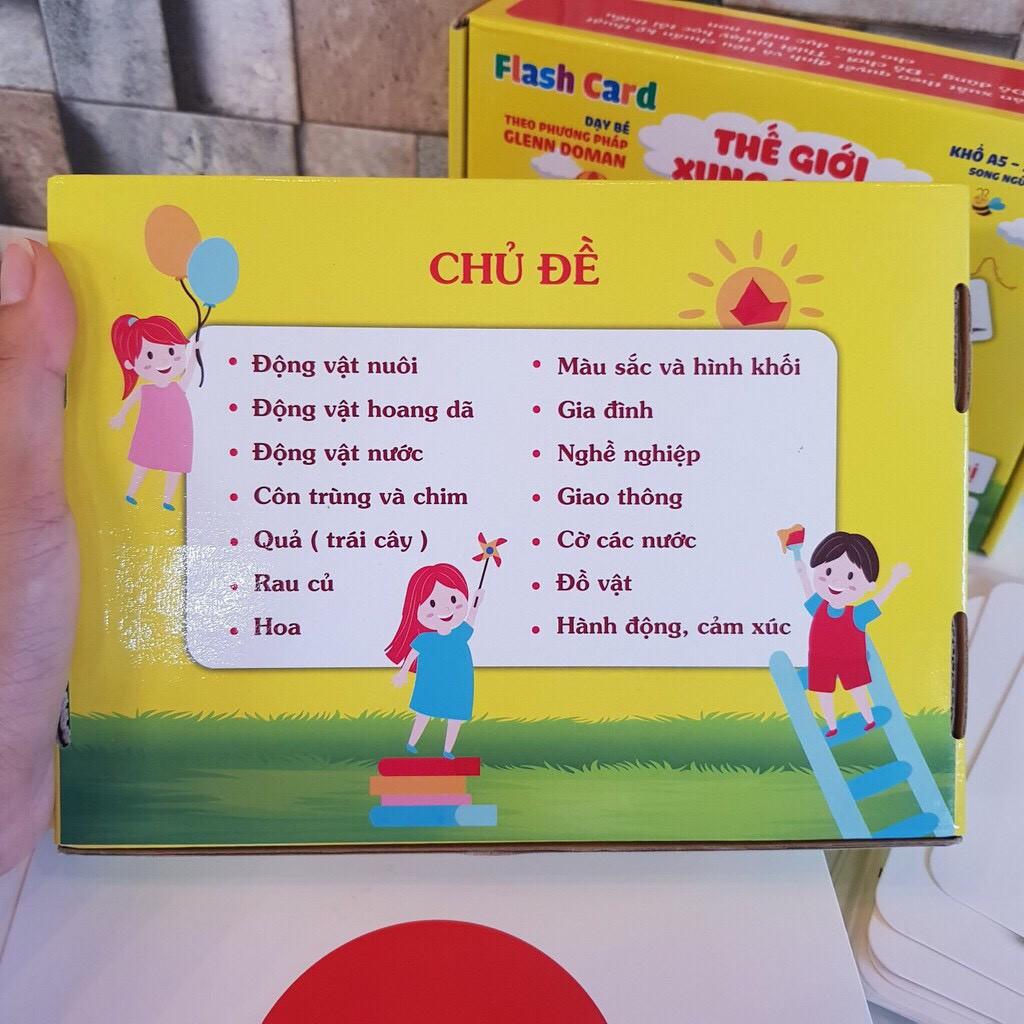 [NHẬN QUÀ 0] Thẻ học thông minh cho bé, flashcard 100 thẻ kích thước to 15x21cm, loại chuẩn glenn doman