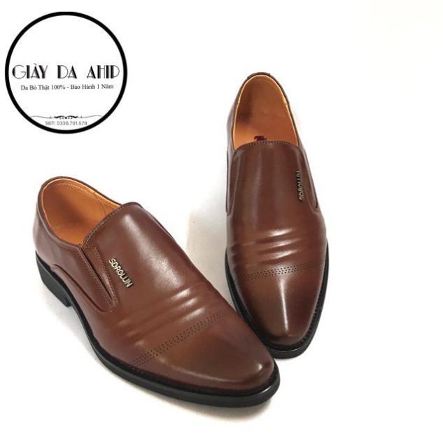 [Sale 3/3]Giày Da Nam❤️ Giày Tây Nam Da Bò Thật Đập 3 Gân Đế Cao Su -x13