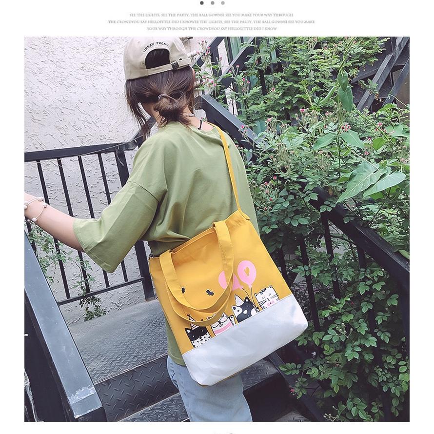 Túi Vải Tote XinhStore Hình Năm Mèo Bóng