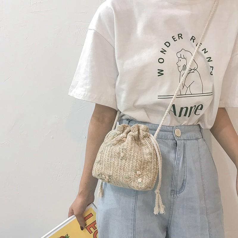 Túi cói đeo vai dáng xô dây rút phối ren dễ thương thời trang cho nữ