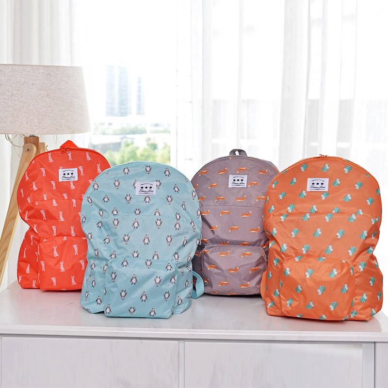 Women Cartoon Backpack Folding Travel Bag Student Candy Color School Bag