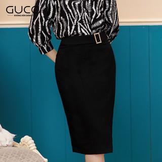 GUCO - Chân váy nữ công sở màu đen xẻ khoen eo CV125 thumbnail