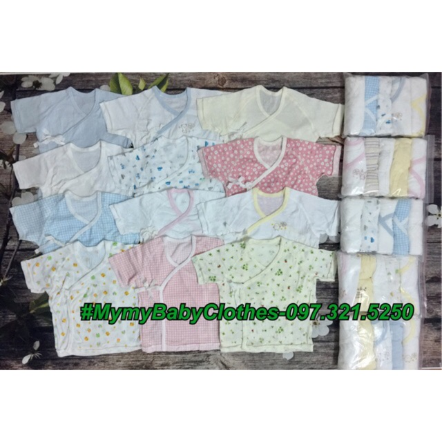 Set 5c áo buộc dây tay lỡ cotton xuất Nhật sơ sinh freesize 3-8kg (mẫu ngẫu nhiên từng set)