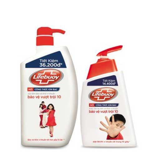 Sữa tắm Lifebuoy bảo vệ vượt trội 850g - Tặng nước rửa tay-Chính hãng