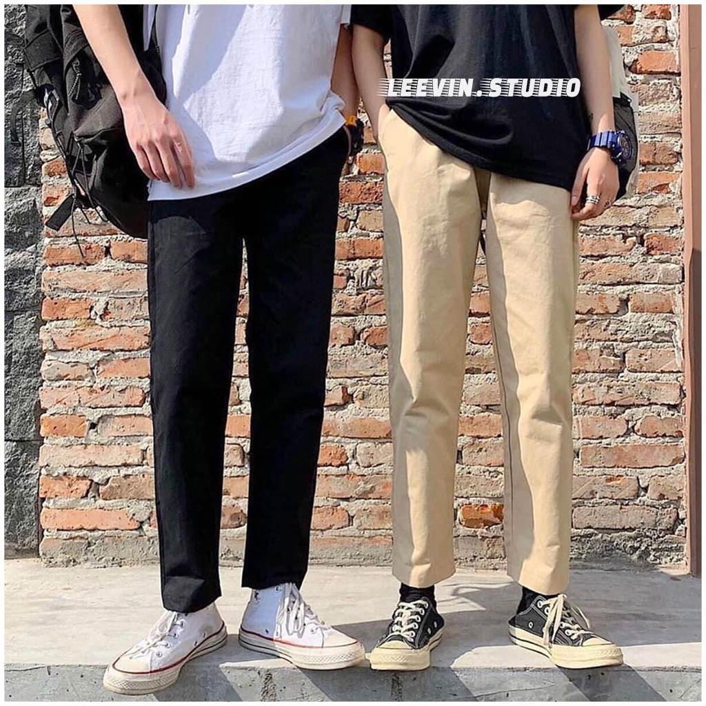 Quần Baggy Nam Nữ Kaki Ống Suông Unisex  - Kiểu quần baggy kaki nam nữ thun vải đen và be tan Leevin Store