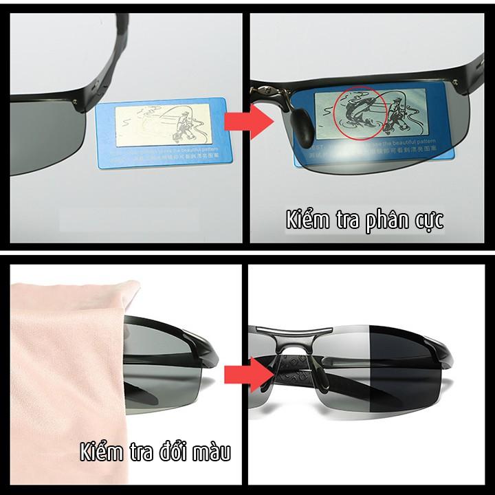 Kính đổi màu gọng nhôm magiê, kính mát, mắt kính phân cực polarized, Chống tia UV -MK1820