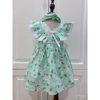 Váy Cho Bé💕𝑭𝑹𝑬𝑬𝑺𝑯𝑰𝑷💕Đầm trẻ em Hàng Thiết Kế Cao Cấp VNXK - váy HOA xanh ngọc 2 dây chéo lưng