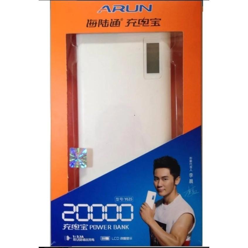 Pin dự phòng Arun 20000 LCD-Y635 20000mAh (Trắng) xịn