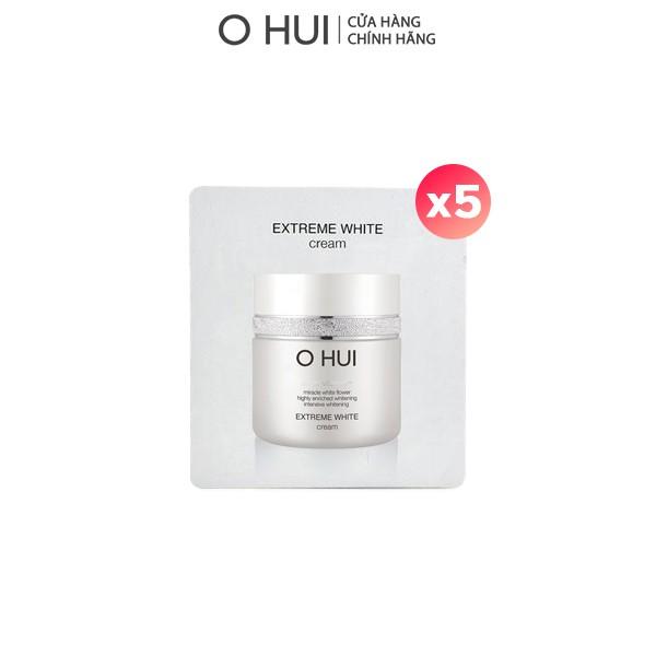 [HB Gift] Combo 5 gói Kem dưỡng trắng OHUI Extreme White 1ml/gói và Bông tẩy trang Cotton Pad Gimmick
