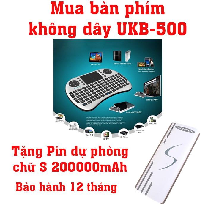 Bàn phím kiêm chuột không dây UKB KM-500 Mini Keyboard (Đen) tặng Pin sạc dự phòng S 20000mAh - 2670173 , 1331321431 , 322_1331321431 , 235000 , Ban-phim-kiem-chuot-khong-day-UKB-KM-500-Mini-Keyboard-Den-tang-Pin-sac-du-phong-S-20000mAh-322_1331321431 , shopee.vn , Bàn phím kiêm chuột không dây UKB KM-500 Mini Keyboard (Đen) tặng Pin sạc dự phò