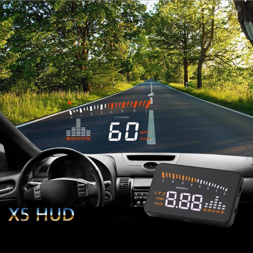 Bộ hiển thị và cảnh báo tốc độ lên kính lái HUD X5 cho xe hơi... Giá sock hàng mới