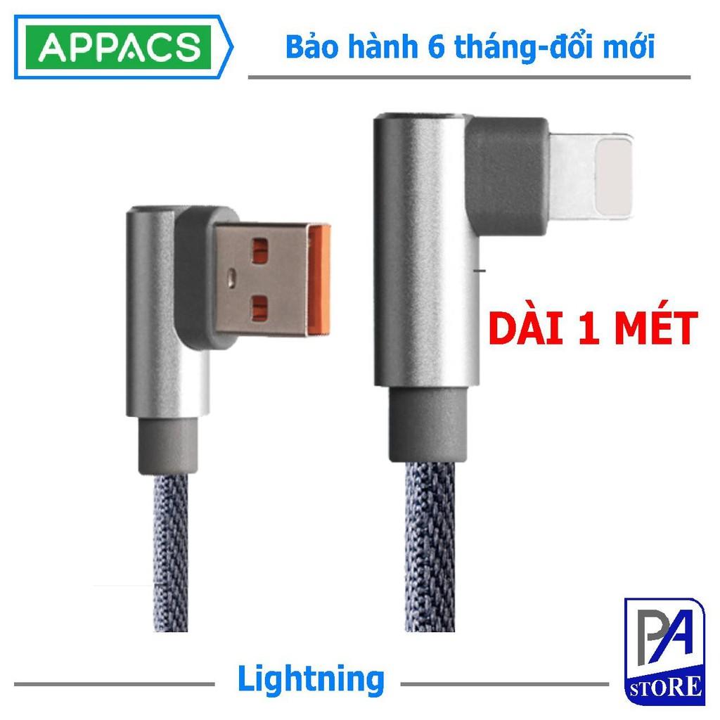 Cáp Sạc Siêu Tốc (Q.C 3.0) Iphone Lightning APPACS, Dài 1m, Đầu Chữ L Chống Vướng Tay