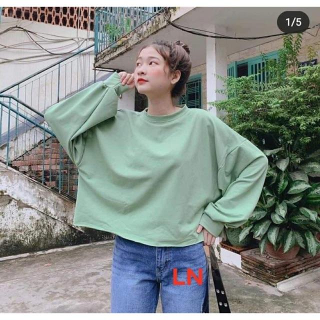Áo croptop tay dài xanh xi măng LN12