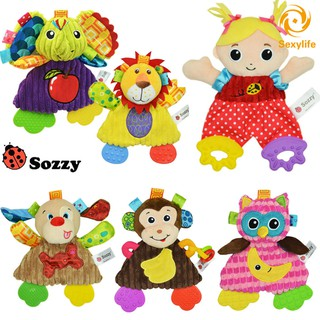 SL♣ Sozzy Baby Appease Towel Toy Teether Ring Paper Soft Cute Cartoon Animals Newborn Infant Playmat