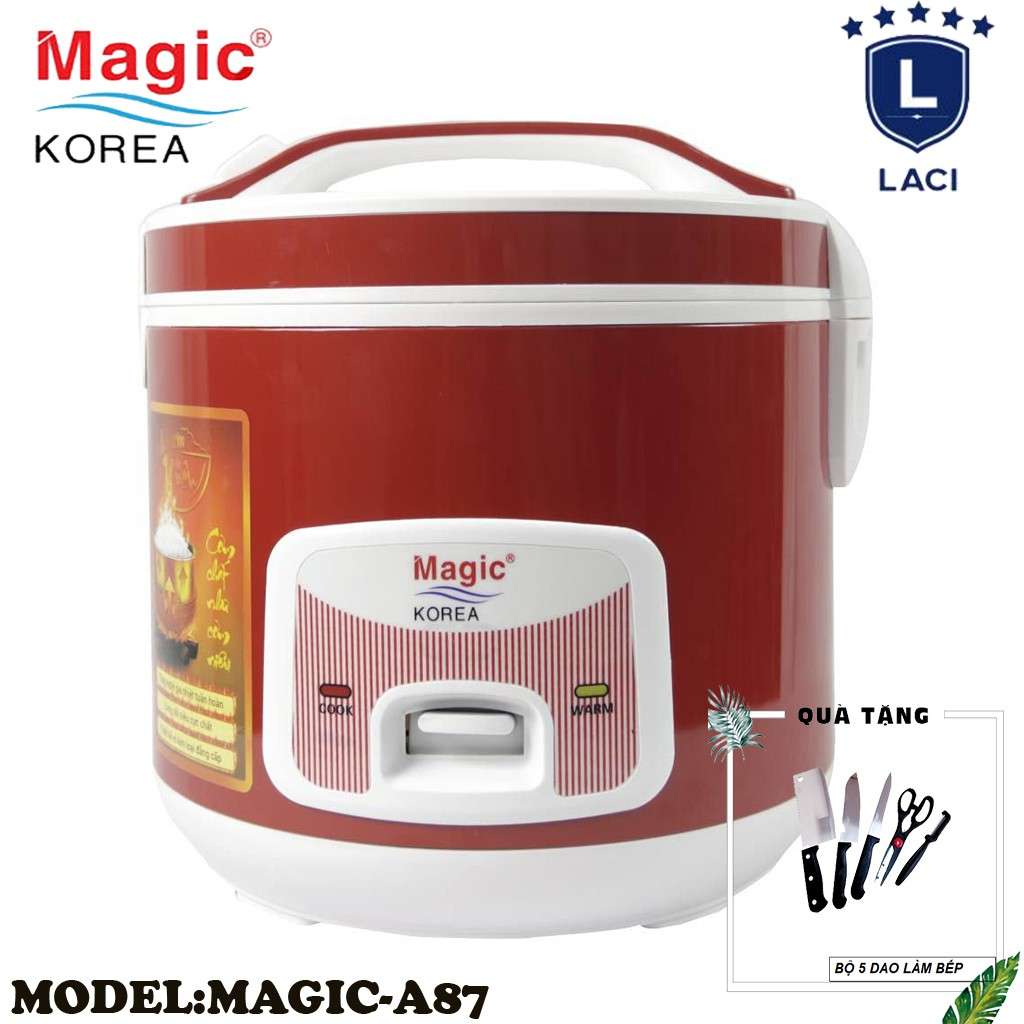 Nồi cơm điện lòng niêu Magic Korea A87   Dung Tích 2L   Công Suất 700W   Tặng Bộ Dao Làm Bếp 5 Món