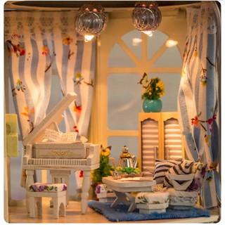 Mô hình nhà búp bê gỗ – Căn phòng với đàn piano trong mô hình đèn siêu lung linh (N13-b)