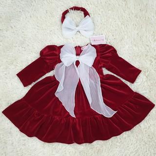 Váy Nhung Trẻ Em Mận Phối Nơ Ngực (Kèm video)