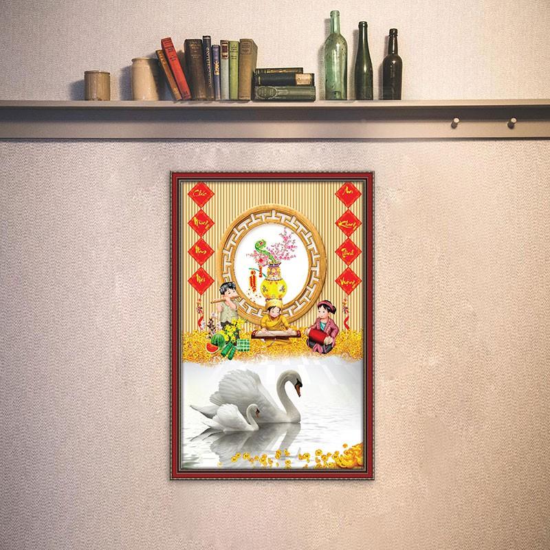 [Siêu rẻ] Tranh pKim Tiền Câu Đối Đỏ Ngày Tết ép gỗ treo tường TT1535 - tặng vòng phong thủy