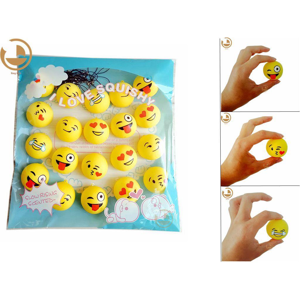 20pcs Emoji Squishy Bread Slow Phone Rising Toy Squeeze Soft Charm Stress
