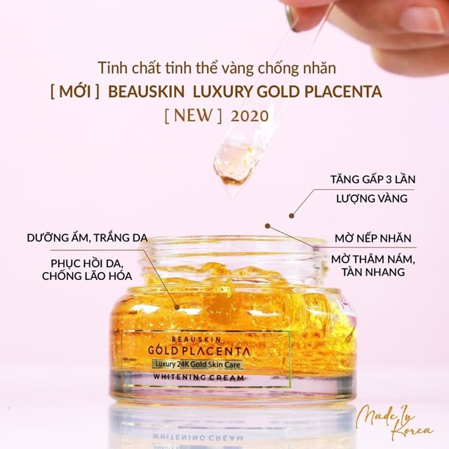 KEM DƯỠNG TINH THỂ VÀNG 24K PLACENTA GOLD BEAUSKIN WHITENING LUXURY GOLD  PLACENTA   Shopee Việt Nam