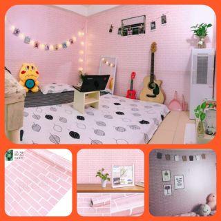 Yêu ThíchGiấy dán tường có keo sẵn bóc dán khổ 45cm ,giấy dán tường giả gạch hồng trang trí phòng ngủ đẹp giá rẻ