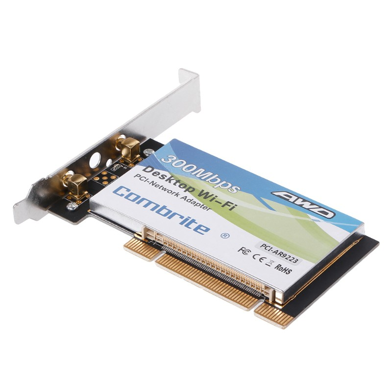 2 Antenna PCI-E 300Mbps 300M 802.11b//g//n Wireless WiFi Card Adapter for Desktop