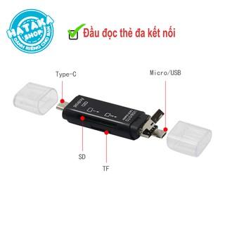 [Mã ELFLASH5 giảm 20K đơn 50K] Đầu đọc thẻ nhớ đa năng, TYPE-C, micro USB, USB2.0 kết nối thẻ TF và SD