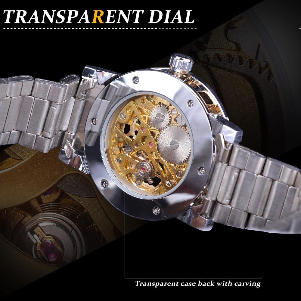 Đồng hồ cơ nam Winner W27 automatic lộ máy dây thép không gỉ độc đáo