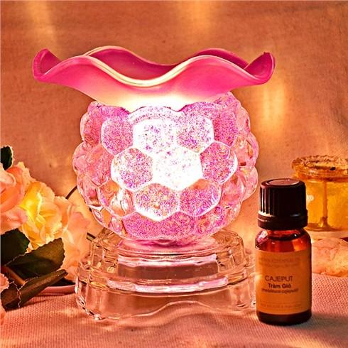 combo 1 đèn xông tinh dầu + 1 tinh dầu hoa hồng bé thơ