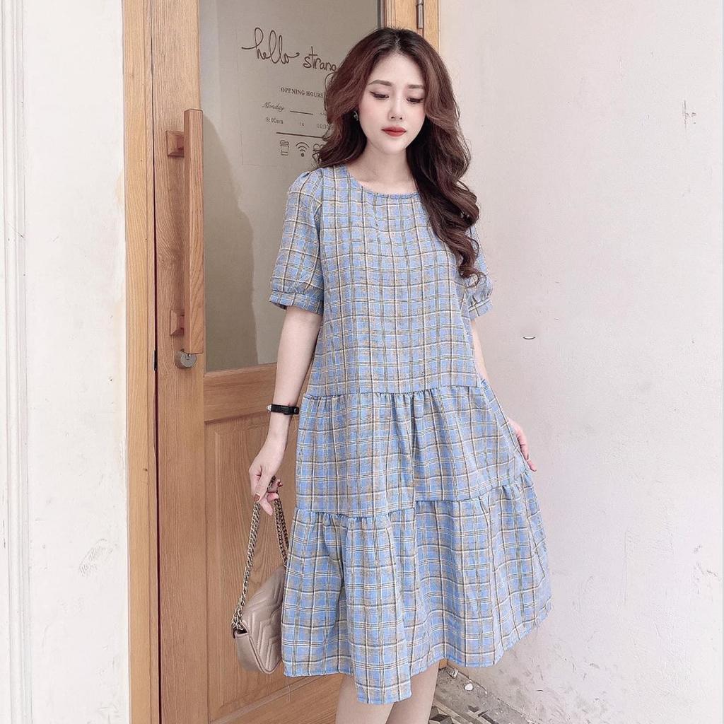 Mặc gì đẹp: Dễ chịu với Đầm bầu thời trang thiết kế kẻ caro MB303 chất Cotton thô freesize từ 45 đến 70kg