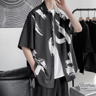 Trendy Fashion Men's Clothing Dark Cold Cold Wind Ice Silk Half-sleeved Shirt High-quality High-quality Top Korean Version of the Three-quarter Sleeves High Street Ins Graffiti Printed Shirt