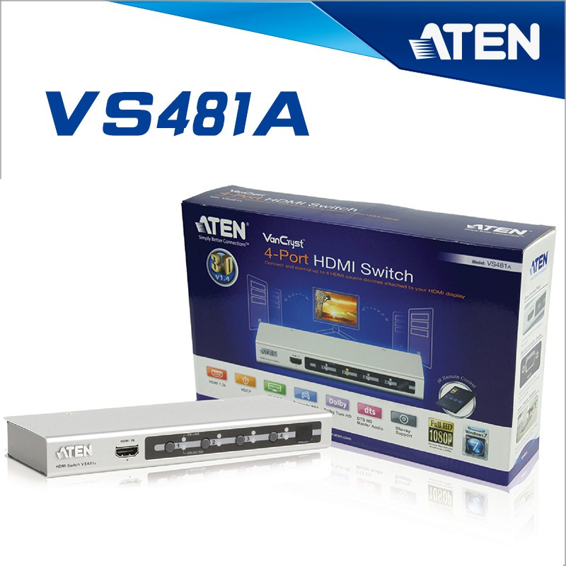 ATEN HDMI Switch 4 in/1 out รุ่น VS481A (Black)